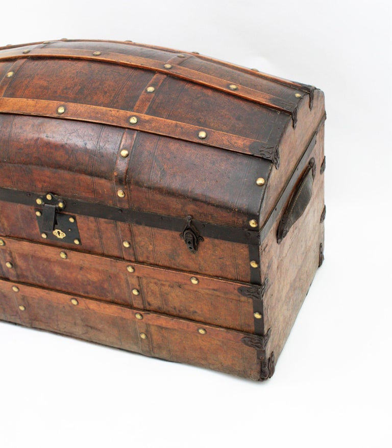 Portuguese Large Dome Top Leather Steamer Trunk, 19th Century For Sale 2