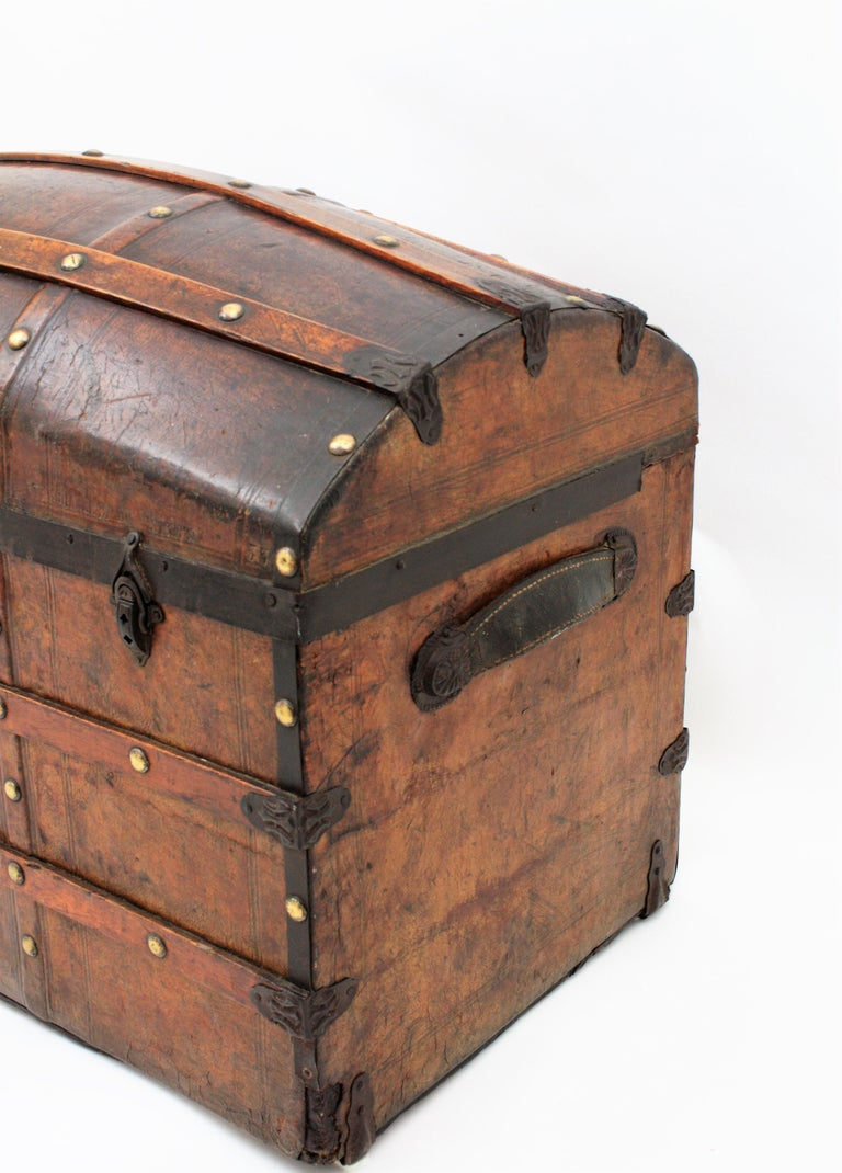 Portuguese Large Dome Top Leather Steamer Trunk, 19th Century For Sale 3