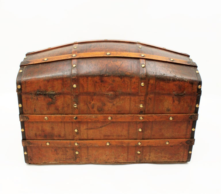 Portuguese Large Dome Top Leather Steamer Trunk, 19th Century For Sale 7