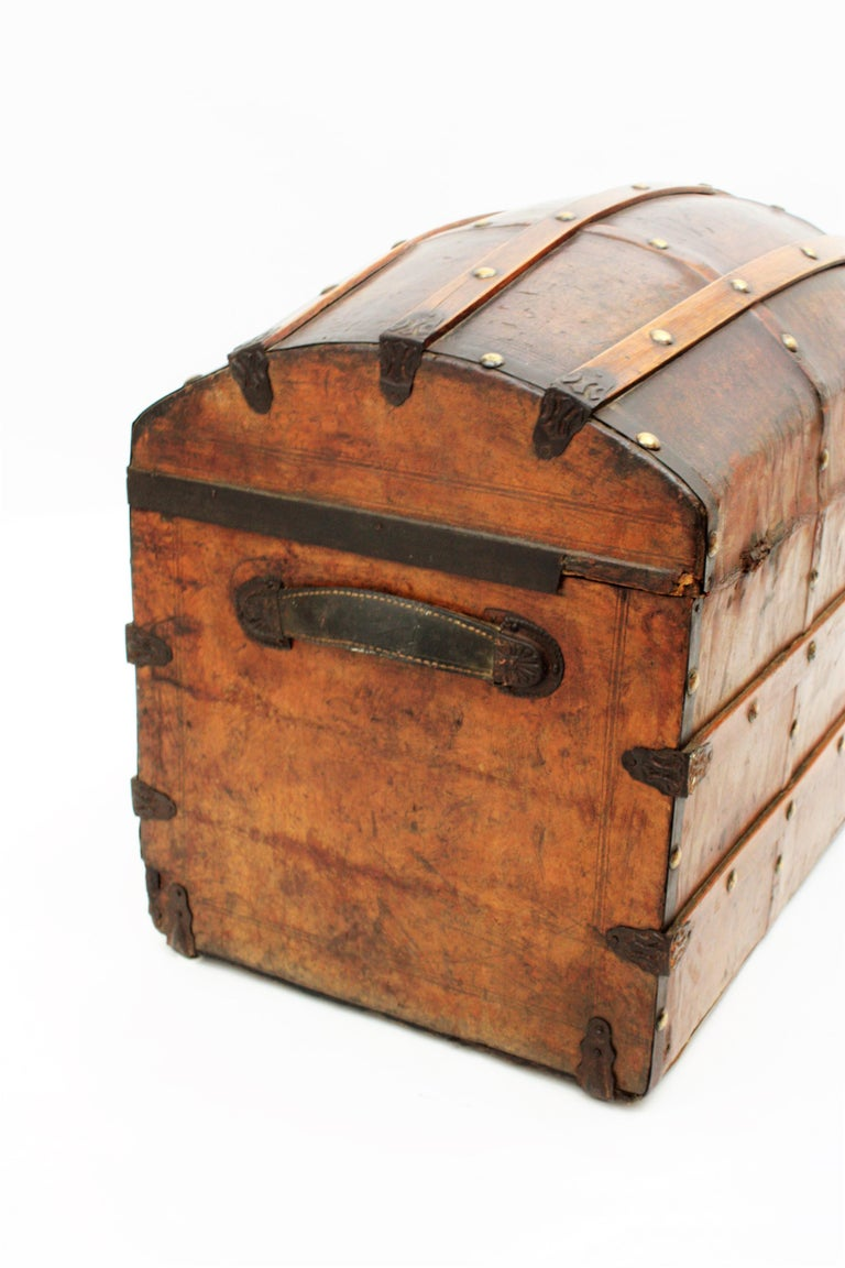 Portuguese Large Dome Top Leather Steamer Trunk, 19th Century For Sale 6