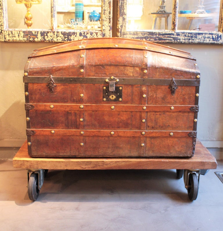 American Colonial Portuguese Large Dome Top Leather Steamer Trunk, 19th Century For Sale