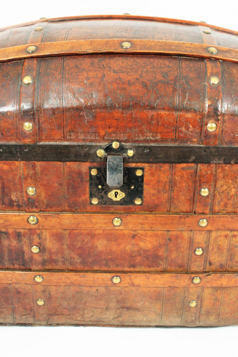 Portuguese Large Dome Top Leather Steamer Trunk, 19th Century For Sale 1