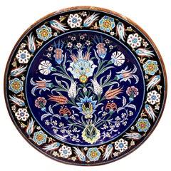 Large 19th Century Privillee Ceramic Charger in Iznik Taste