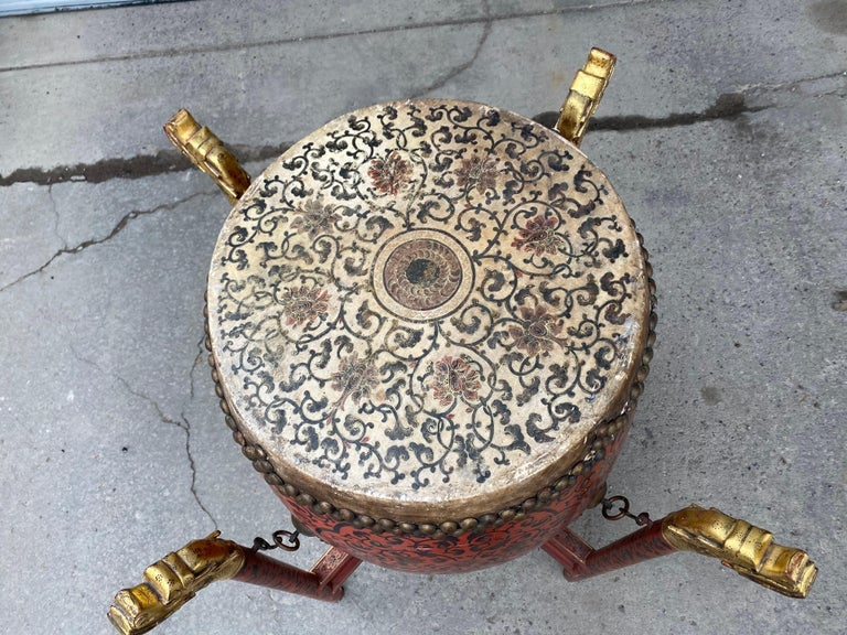 Late 19th Century Large 19th Century Qing Dynasty Chinese Ceremonial Lacquered Drum, Dragon Stand For Sale