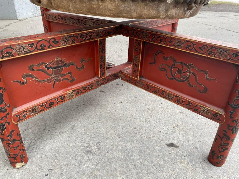 Animal Skin Large 19th Century Qing Dynasty Chinese Ceremonial Lacquered Drum, Dragon Stand For Sale