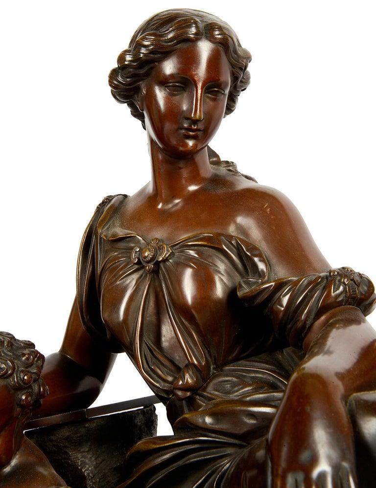 Bronze Large 19th Century Raingo Fres, Paris Clock Set For Sale