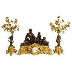 Large 19th Century Raingo Fres, Paris Clock Set