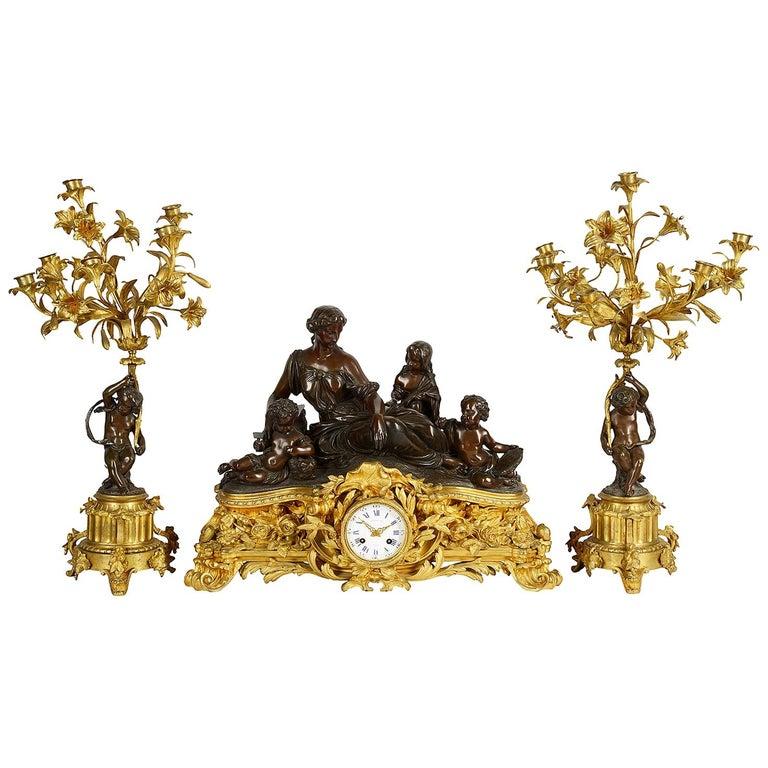 Large 19th Century Raingo Fres, Paris Clock Set For Sale