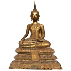 Large 19th Century Rattanakosin Gilt Bronze Buddha Figure