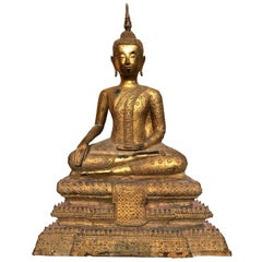 Large 19th Century Rattanakosin Gilt Bronze Buddha Figure