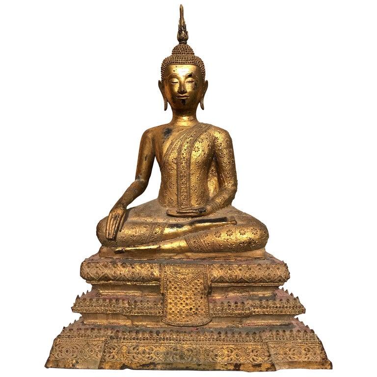 Large 19th Century Rattanakosin Gilt Bronze Buddha Figure For Sale