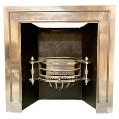 Large 19th Century Regency Style Polished Steel Fireplace Insert