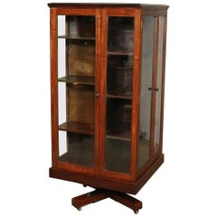 Large 19th Century Revolving Bookcase with Glass Doors