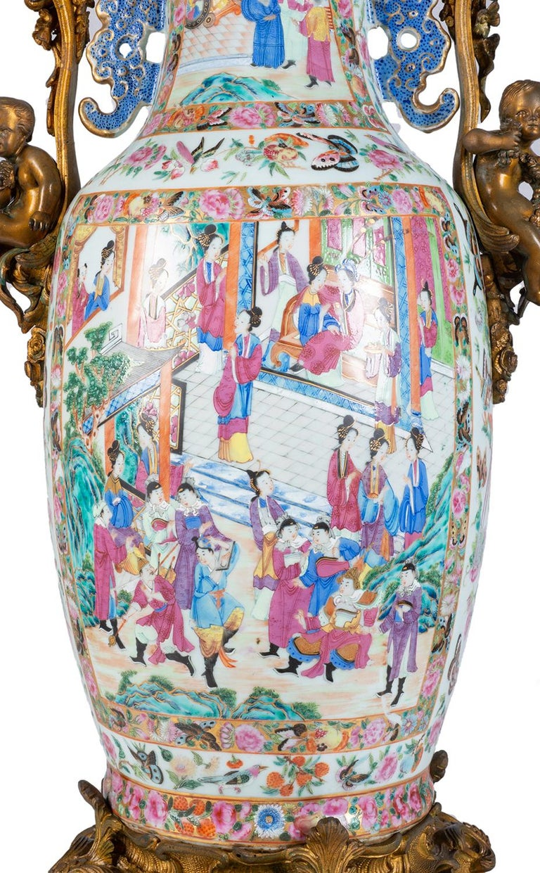Large 19th Century Rose Medallion Vase or Lamp, Ormolu Mounted For Sale 3