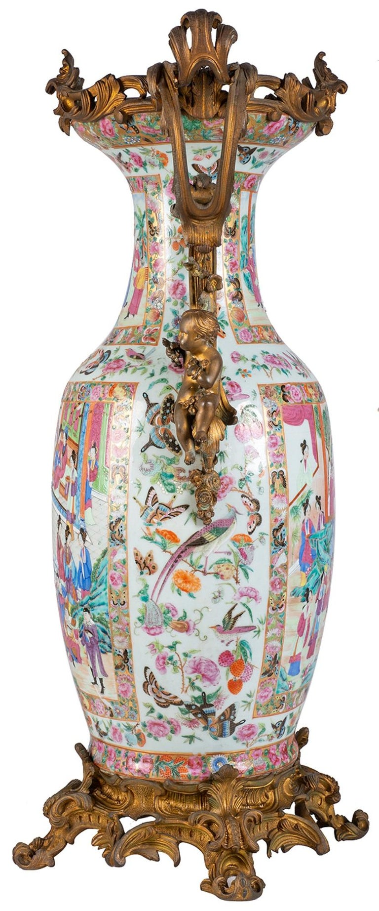 Large 19th Century Rose Medallion Vase or Lamp, Ormolu Mounted For Sale 8