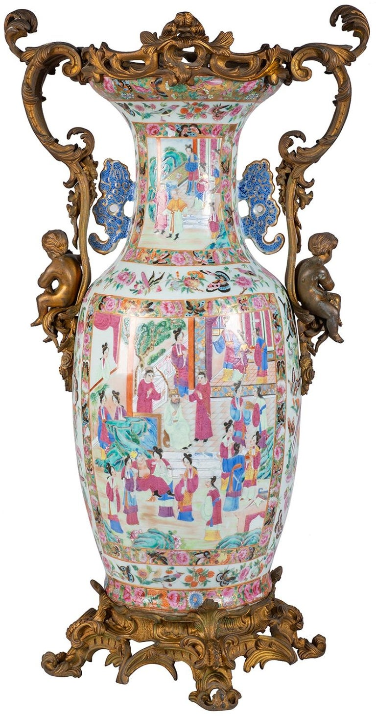Chinese Export Large 19th Century Rose Medallion Vase or Lamp, Ormolu Mounted For Sale