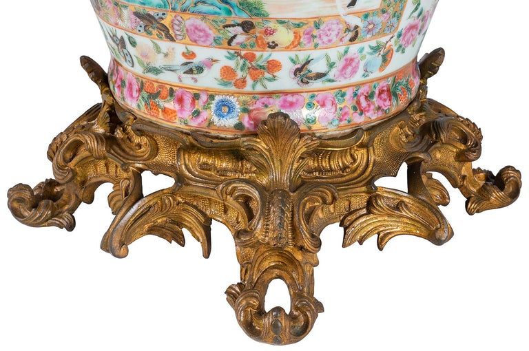 Large 19th Century Rose Medallion Vase or Lamp, Ormolu Mounted In Good Condition For Sale In Brighton, Sussex