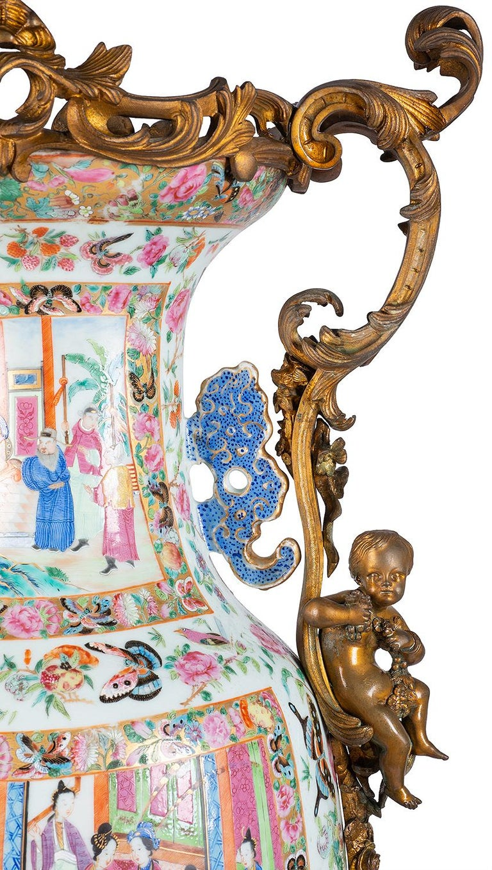 Porcelain Large 19th Century Rose Medallion Vase or Lamp, Ormolu Mounted For Sale