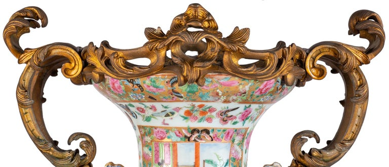 Large 19th Century Rose Medallion Vase or Lamp, Ormolu Mounted For Sale 1