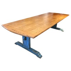 Large 19th Century Scandinavian Pine Dining Table with Blue Patinated Trestle