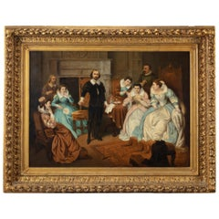 Large 19th Century Scene of William Shakespeare, British School Oil on Canvas