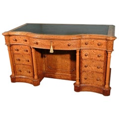 Large 19th Century Serpentine Burr Ash Kneehole Desk by Taylor and Sons of 97 Ne