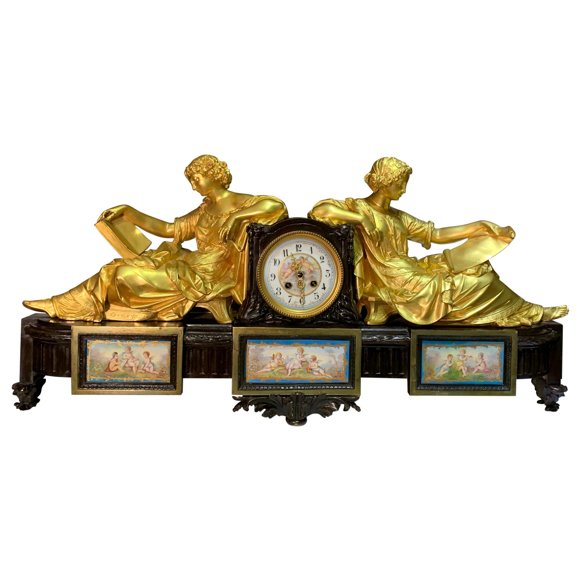 Large 19th Century Sevres Style Porcelain Mounted Ormolu Figural Clock