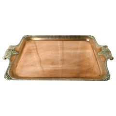 Large 19th Century Silver Plated Tray with Pierced Gallery