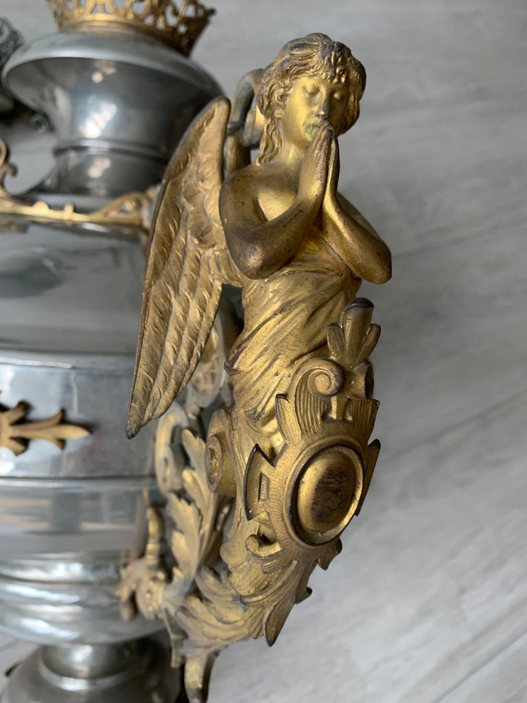 Large 19th Century Silvered & Gilt Bronze Gothic Revival Sanctuary Lamp w Angels For Sale 7