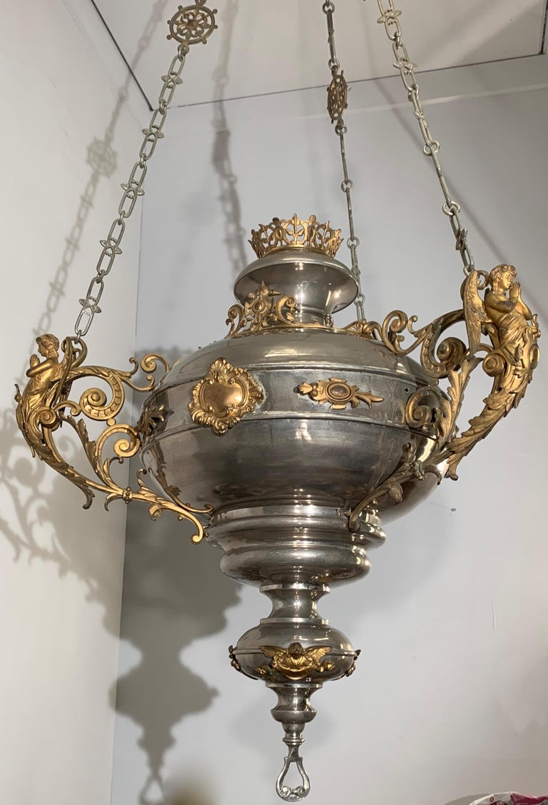 Large 19th Century Silvered & Gilt Bronze Gothic Revival Sanctuary Lamp w Angels For Sale 8