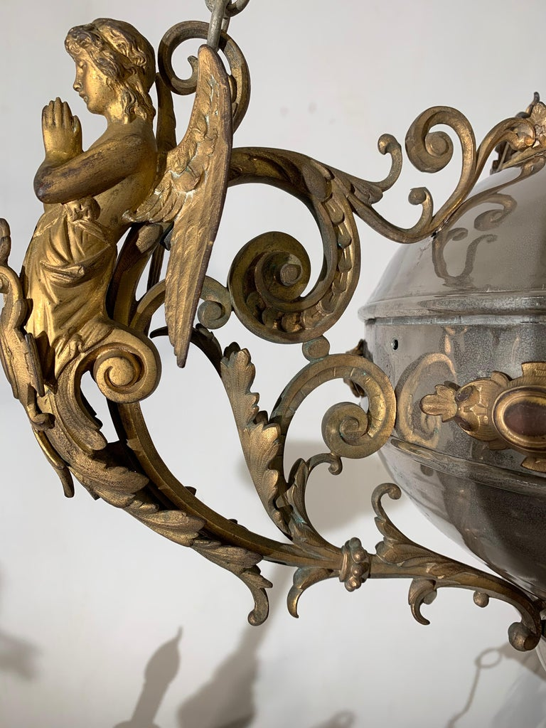 Large 19th Century Silvered & Gilt Bronze Gothic Revival Sanctuary Lamp w Angels For Sale 11
