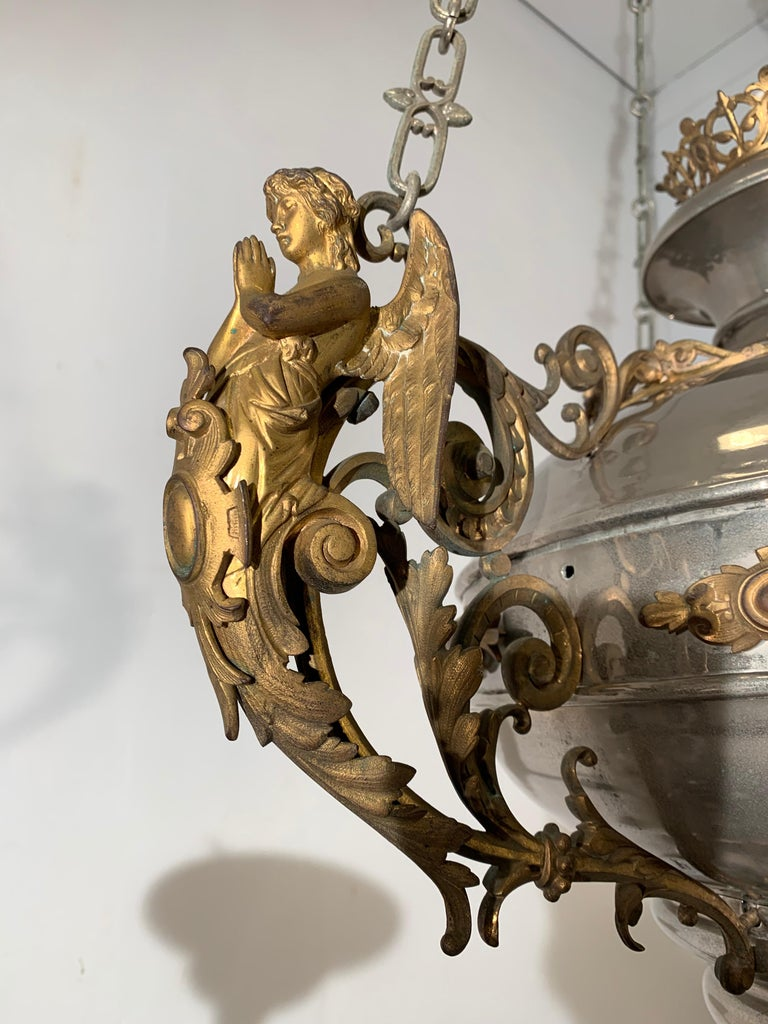 Large 19th Century Silvered & Gilt Bronze Gothic Revival Sanctuary Lamp w Angels For Sale 12