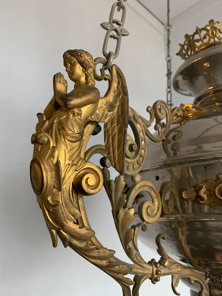 European Large 19th Century Silvered & Gilt Bronze Gothic Revival Sanctuary Lamp w Angels For Sale