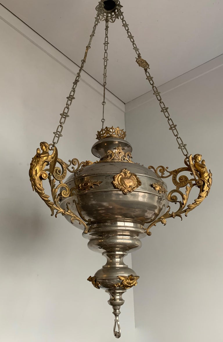 Brass Large 19th Century Silvered & Gilt Bronze Gothic Revival Sanctuary Lamp w Angels For Sale