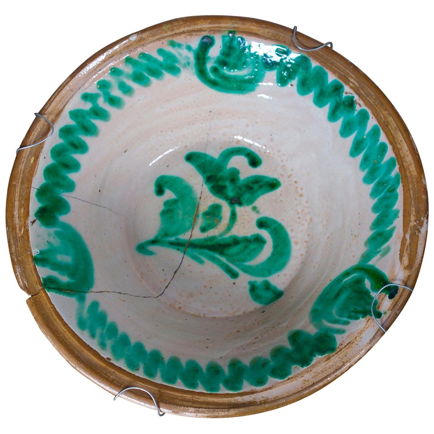 Large 19th Century Spanish Dairy Bowl Granada Lebrillo Earthenware