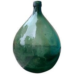 Large 19th Century Spanish Hand Blown Green Glass Jar, Marked VBSA Barcelona