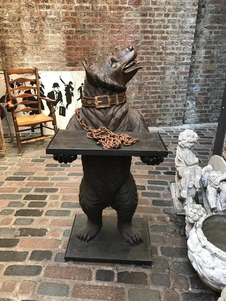 Large 19th Century Statue of a Black Forest Wooden Bear For Sale 7