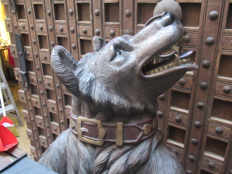 German Large 19th Century Statue of a Black Forest Wooden Bear For Sale