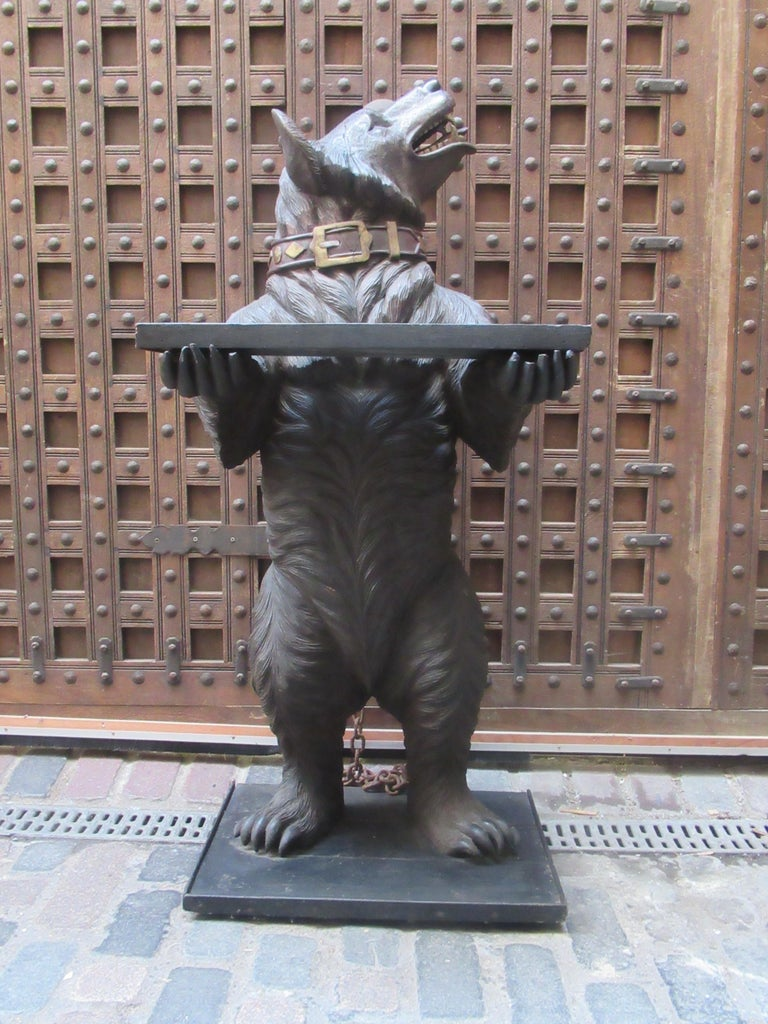 Carved Large 19th Century Statue of a Black Forest Wooden Bear For Sale