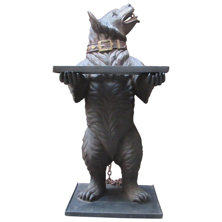 Large 19th Century Statue of a Black Forest Wooden Bear For Sale