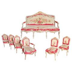 Large 19th Century Suite of Louis XV Style Aubusson Tapestry Chairs and Settee