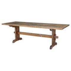 Large 19th Century Swedish Pine Trestle Dining Table