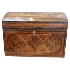 Large 19th Century Syrian Domed Box Inlaid with Exotic Woods & Mother of Pearl