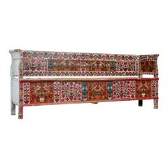 Large 19th Century Traditional Painted Swedish Bench