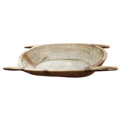 Large 19th Century Turkish Dough Bowl Carved from One Piece of Wood