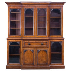 Large 19th Century Victorian Breakfront Bookcase with Integral Secretaire