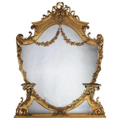 Large 19th Century Victorian Giltwood and Gesso Overmantel Mirror of Cartouche