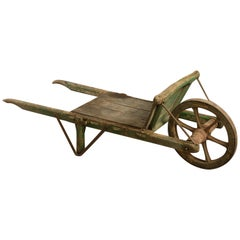 Large 19th Century Victorian Painted Wooden Wheelbarrow