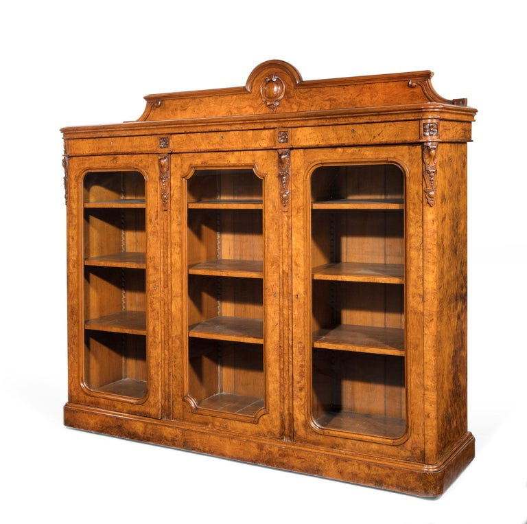 Large 19th Century Victorian Pollard Oak Three-Door Bookcase 9