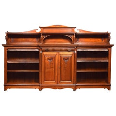 Large 19th Century Walnut Breakfront Bookcase